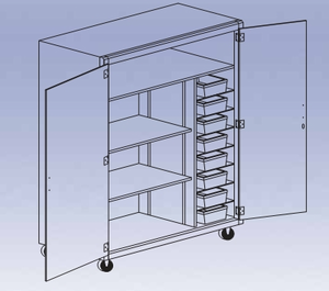 Mobile Tote Tray Shelf Storage Cabinet