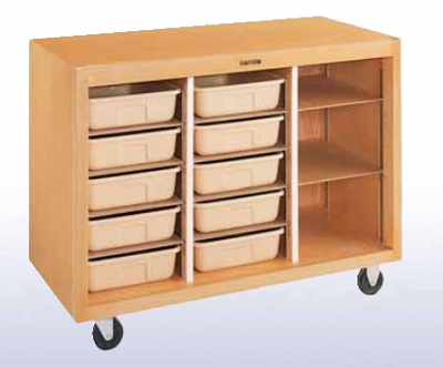 Mobile Tote Tray Storage Cabinet - 10 trays
