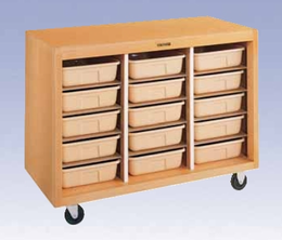 Mobile Tote Tray Storage Cabinet - 15 trays
