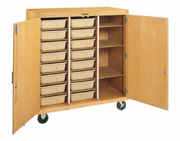 Mobile Tote Tray Storage Cabinet-16 trays/locking doors