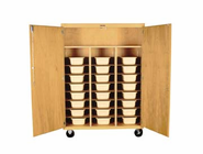 Mobile Tote Tray Storage Cabinet - 24 trays