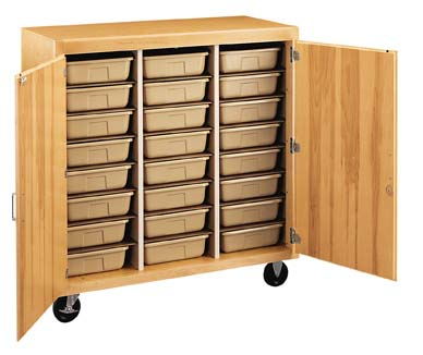 Mobile Tote Tray Storage Cabinet-24 trays/locking doors