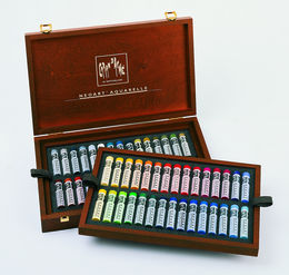 NEOART WAX Pastels, water-soluble  - Wooden Box Set of 60 Colors - Click to enlarge