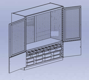 Pegboard Tool Storage Cabinet w/holders