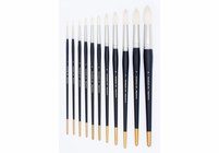"Richeson's Finest Pure Bristle ""Signature"" Brushes - Set of 5 (Round size 4, Flat sizes 2 & 4, Bright size 2 and Fan size 4)"