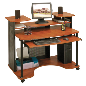 Sauder Saturn Multi-Level Computer Workstation (Black and Cherry)