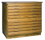 SMI Five-Drawer Flat File Med Oak (drawers without cap & base)