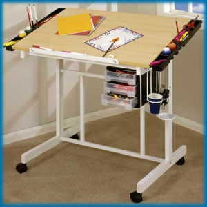 Studio Designs Deluxe Craft Station (White / Maple) - Click to enlarge
