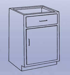 Wood High Base - 1 drawer/single door