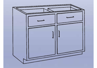 Wood High Base - 2 drawers/double doors-18