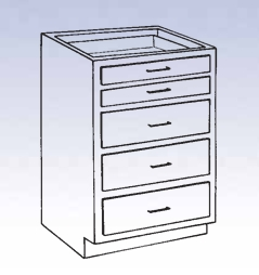 Wood High Base - 2 small/3 large drawers
