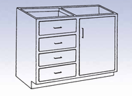 Wood High Base - 4 drawers/single door