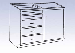 Wood High Base - 4 drawers/single door-24