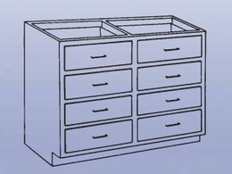 Wood High Base - 8 drawers-24