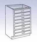 Wood High Base - 8 drawers