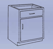 Wood Low Base - 1 drawer/single door