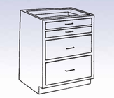 Wood Low Base - 2 large/2 small drawers