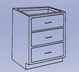 Wood Low Base - 3 drawer-8 Wt-70