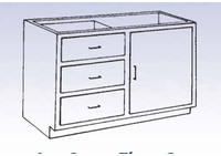Wood Low Base - 3 drawer/single door