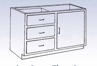 Wood Low Base - 3 drawer/single door-20