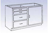 Wood Low Base - 4 drawer/single door-20