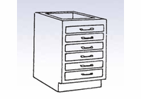 Wood Low Base - 6 drawers-10