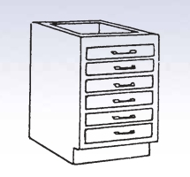 Wood Low Base - 6 drawers