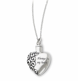 Always In My Heart Antiqued Sterling Silver Cremation Jewelry Necklace