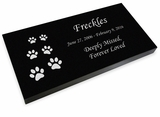 Ascending Cat Prints Pet Grave Marker Black Granite Laser-Engraved Memorial Headstone