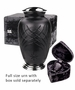 Black Classic Hand Cut Art Glass Keepsake Cremation Urn