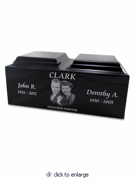 Black Granite Companion Cremation Urn Vault with Engraved Photo