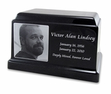 Black Granite Olympus Cremation Urn with Engraved Photo