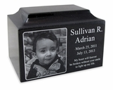 Black Granite Small Cremation Urn with Engraved Photo