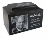 Black Granite Standard Size Cremation Urn Vault with Engraved Photo