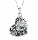 Boy Handprint in Heart Sterling Silver Cremation Jewelry Necklace