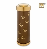 Bronze Paw Prints Tall Tealight Candle Brass Pet Cremation Urn