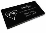 Cat Prints in Heart Pet Grave Marker Black Granite Laser-Engraved Memorial Headstone