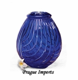Cobalt Blue Linnum Lead Crystal Cremation Urn
