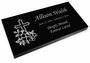 Cross Grave Marker Black Granite Laser-Engraved Memorial Headstone