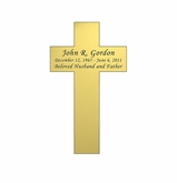 Cross Nameplate - Engraved - Gold - 2-1/4  x  3-7/8