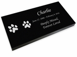 Dog Prints Pet Grave Marker Black Granite Laser-Engraved Memorial Headstone