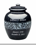 Dogwood Black Marble Engravable Cremation Urn