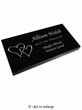 Double Heart Grave Marker Black Granite Laser-Engraved Memorial Headstone