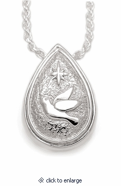 Dove and Star Teardrop Sterling Silver Cremation Jewelry Pendant Necklace