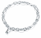 Fish Charm Oval Link Sterling Silver Cremation Jewelry Bracelet