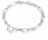 Heart Charm Oval Link Sterling Silver Cremation Jewelry Bracelet