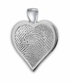 Heart Thumbies 3D Fingerprint Sterling Silver Keepsake Memorial Pendant/Charm