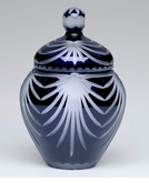 Large Navy Blue Majestic Drape Lead Crystal Cremation Urn