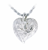 Leaves and Berries Heart Sterling Silver Cremation Jewelry Pendant Necklace