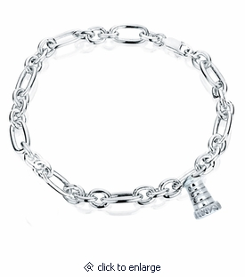 Lighthouse Charm Oval Link Sterling Silver Cremation Jewelry Bracelet